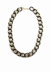 Missguided Metal Contrast Chunky Chain Necklace Black