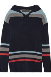 The Elder Statesman Heavy Hockey Hooded Striped Cashmere Sweater Navy