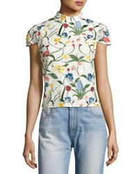 Alice Olivia Viktoria Floral Embroidered Lace High Neck Top Multicolor