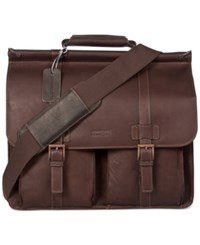 Kenneth Cole Reaction Colombian Leather Dowel Rod Double Gusset Laptop Briefcase Dark Brown