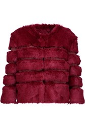 Ainea Faux Fur And Satin Coat Plum