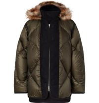 Sacai Faux Fur And Wool Twill Trimmed Quilted Nylon Down Coat Army Green