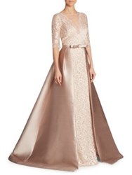 Rickie Freeman For Teri Jon Illusion V Neck Lace Gown Blush
