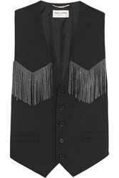 Saint Laurent Studded Leather Fringed Wool Blend Vest