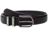 Lauren Ralph Lauren Classics 1 Embossed Leather W Double Metal Keeper Black Women's Belts