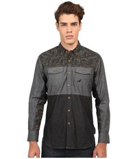 Staple Mosaic Woven Grey Men's Long Sleeve Button Up Gray