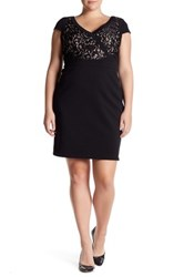 Adrianna Papell Short Sleeve Lace Dress Regular Petite And Plus Size Black