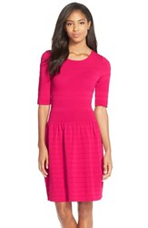 Petite Women's Eliza J Textured Sweater Fit And Flare Dress Pink