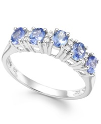 Macy's Tanzanite 4 5 Ct. T.W. And Diamond Accent Five Stone Ring In Sterling Silver