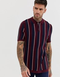 River Island Polo With Stripe Detail In Burgundy Red