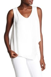 Wit And Wisdom Asymmetrical Overlay Crochet Trim Tank White