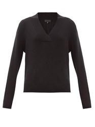 Nili Lotan Beacon Surplice V Neck Cashmere Sweater Black