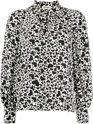 Zadig And Voltaire Heart Print Two Tone Blouse 60