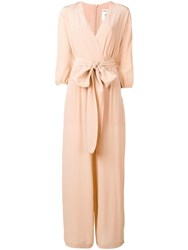 Semicouture Long Crepe Jumpsuit Pink