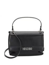 Moschino Leather Flap Satchel Black