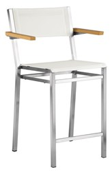 Barlow Tyrie Equinox Counter Height Carver Chair With Teak Armrests