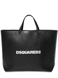 Dsquared Logo Print Leather Tote Bag Black