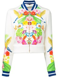 Manish Arora Tropical Print Bomber Jacket Women Nylon Spandex Elastane Rayon 36 White