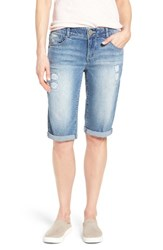 Wit And Wisdom Women's Ab Solution Ripped Denim Bermuda Shorts