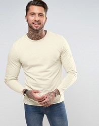Another Influence Basic Raw Edge Long Sleeve Top Beige