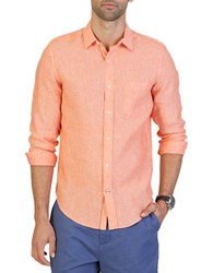 Nautica Slim Fit Linen Button Down Shirt Tiger Lily