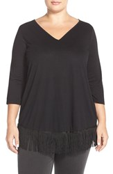 Plus Size Women's Junarose 'Ebony' Three Quarter Sleeve Fringed Top