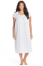 Eileen West 'Berry Patch' Ballet Nightgown Plus Size White Ground Black Floral