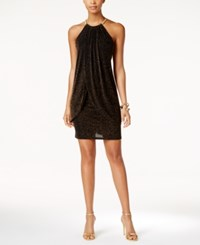 Jessica Simpson Metallic Layered Halter Dress Black Gold