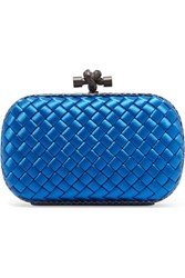 Bottega Veneta The Knot Watersnake Trimmed Intrecciato Satin Clutch Blue