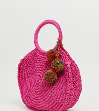 Aldo Yireng Bright Pink Circle Tote Bag With Tassel Detail