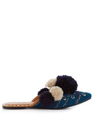 Figue Iris Pompom Embellished Leather Slides Navy Multi