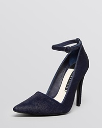 Alice Olivia Pointed Toe Ankle Strap Pumps Makalya High Heel Navy