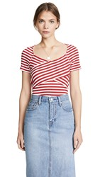Three Dots Nantucket Stripe Crossover Top White Red