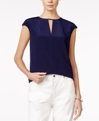 Armani Exchange Cap Sleeve Keyhole Blouse A Macy's Exclusive Solid Dark