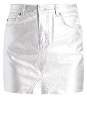 Topshop Tall Mini Skirt Silver