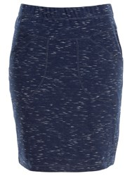 Max Studio Space Dyed Ponte Skirt Navy Ivory