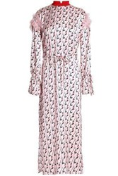 Mother Of Pearl Embellished Printed Silk Crepe De Chine Midi Dress Baby Pink