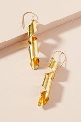 Anthropologie Golden Spiral Drop Earrings