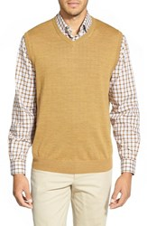 Men's Big And Tall Cutter And Buck 'Douglas' Merino Wool Blend V Neck Vest Domino Heather