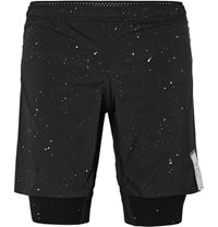 Satisfy Trail Printed 2 In 1 Stretch Jersey Running Shorts Black
