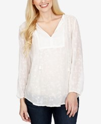 Lucky Brand Sheer Embroidered Top White
