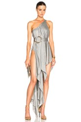 Anthony Vaccarello Double Ring Draped One Strap Gown In Gray