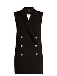 Versus By Versace Crossover Back Notch Lapel Cady Dress Black