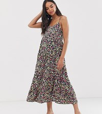 New Look Maternity Strappy Tier Midi Dress In Black Floral Pattern