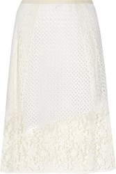 See By Chloe Broderie Anglaise Cotton And Crocheted Lace Midi Skirt White
