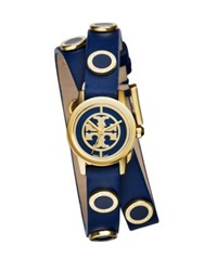 Tory Burch Reva Mini Goldtone Stainless Steel Enamel And Studded Leather Strap Watch Navy Gold Blue