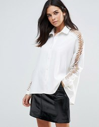 Liquorish Laddered Sleeve Shirt White