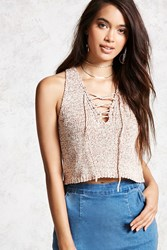 Forever 21 Marled Lace Up Tank Top Pink Ivory