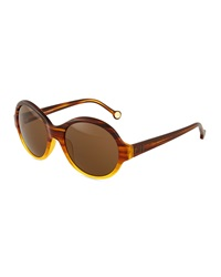 Carolina Herrera Round Streaked Plastic Sunglasses Brown Yellow