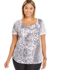 Style And Co. Plus Size Snake Print Embellished T Shirt Only At Macy's